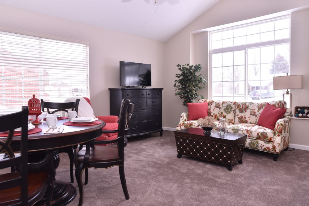 Villa dining room and living room at Ashford Place Health Campus in Shelbyville, Indiana