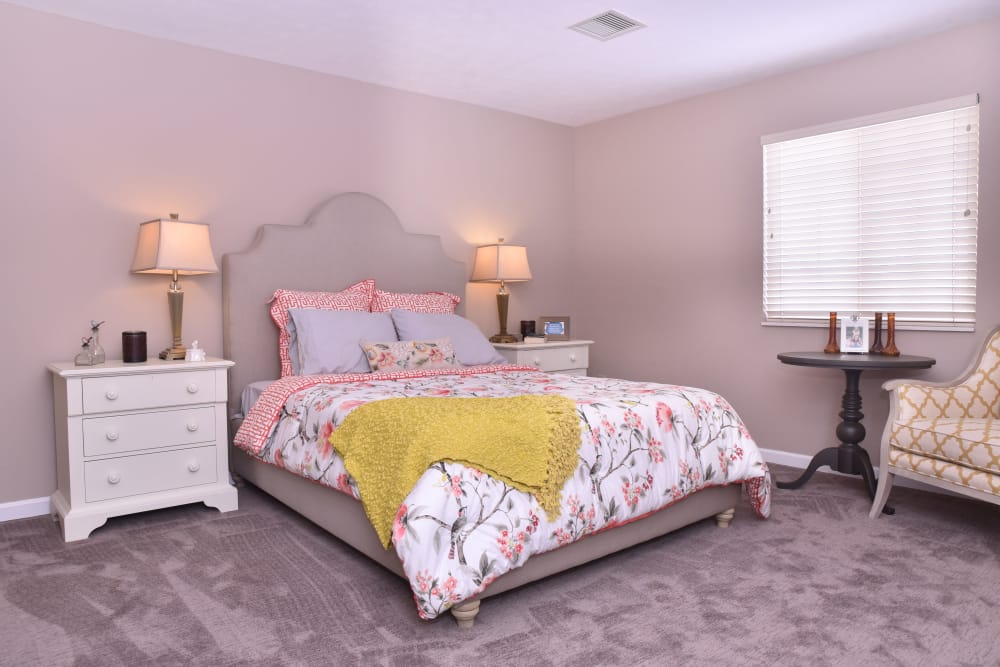 Spacious villa bedroom at Ashford Place Health Campus in Shelbyville, Indiana