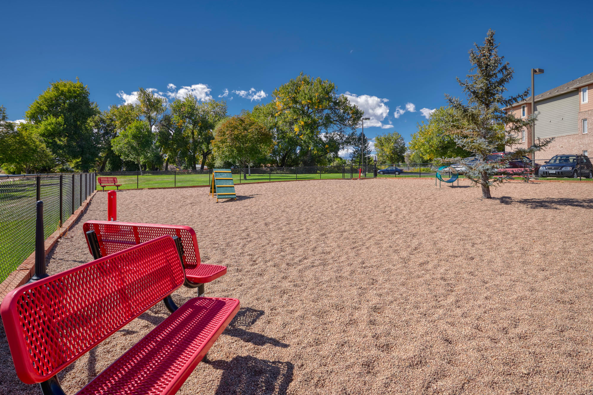 The dog park at Hawthorne Hill Apartments in Thornton, Colorado