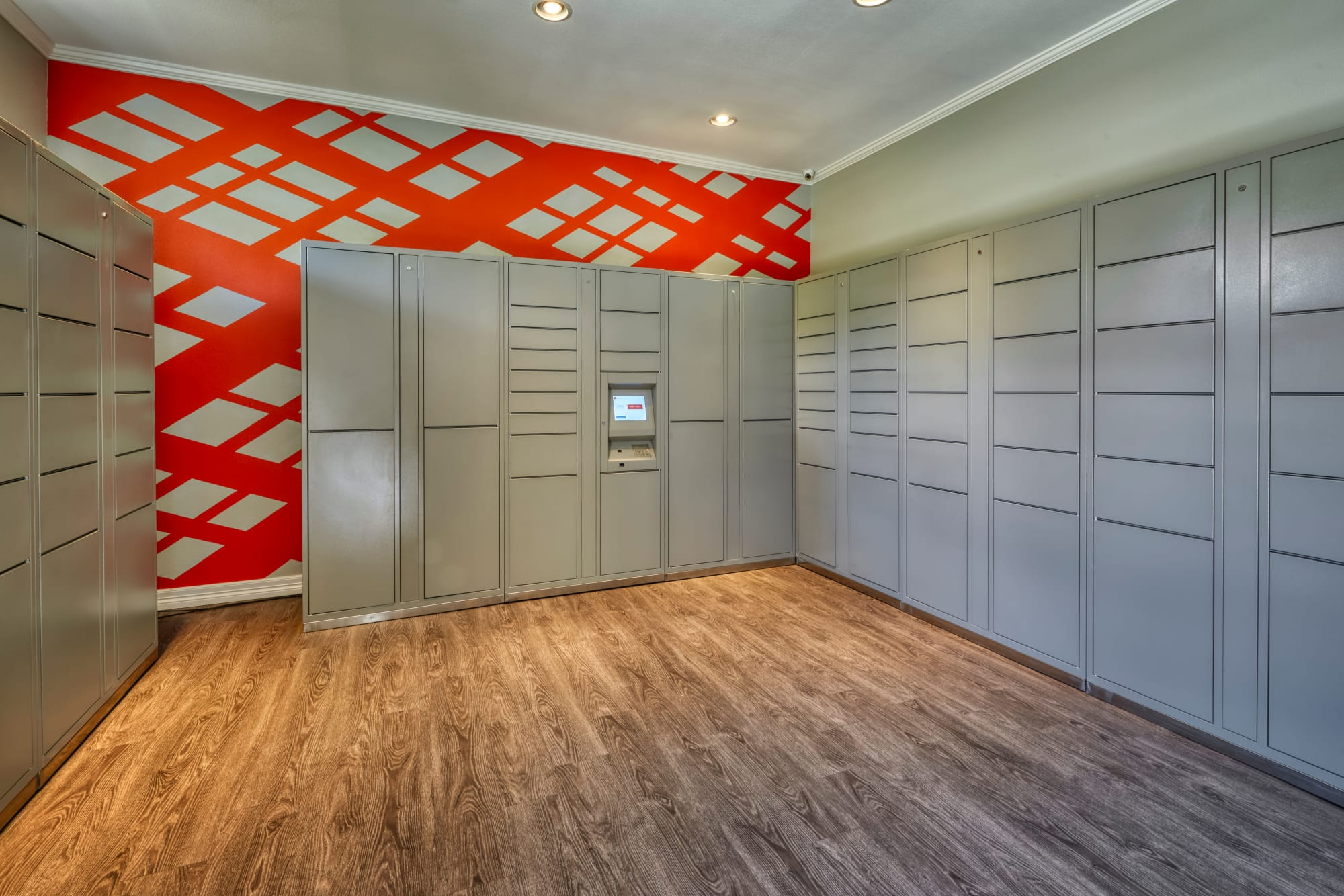 Many sizes of secure lockers in the package room at Hawthorne Hill Apartments in Thornton, Colorado