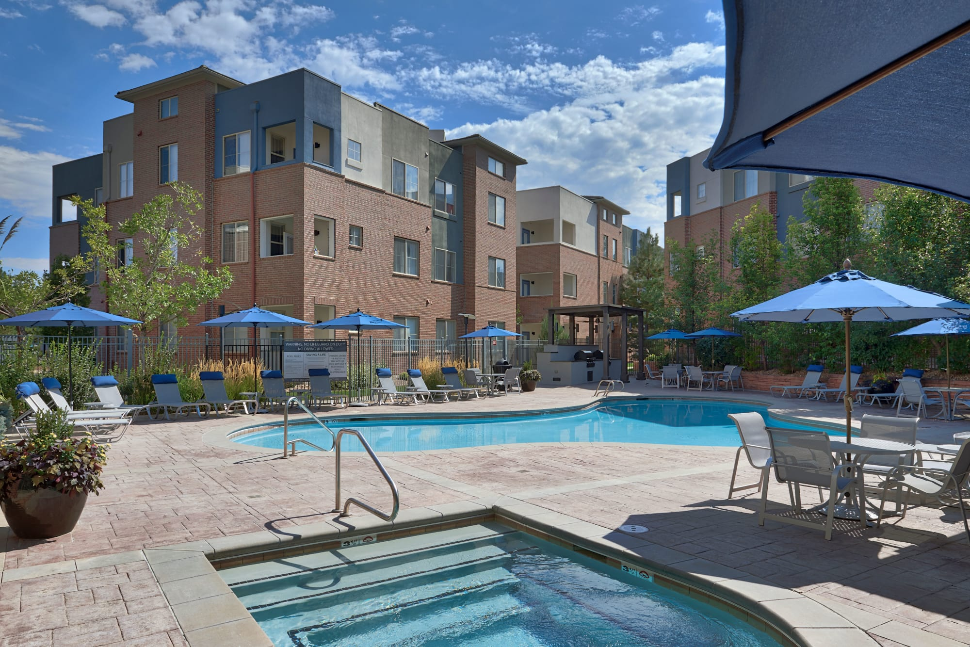 A swimming pool that is great for entertaining at The Rail at Inverness in Englewood, CO