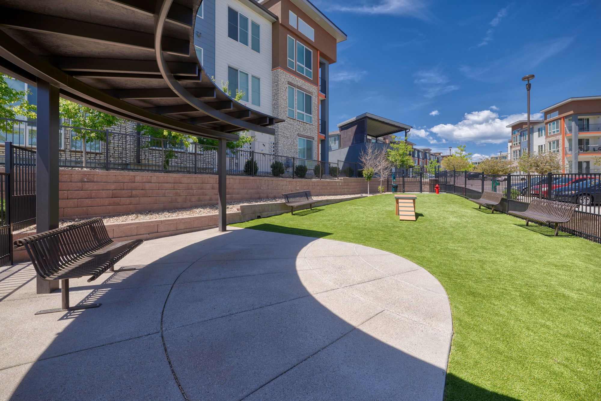 The on-premise dog park at Elevate in Englewood, Colorado