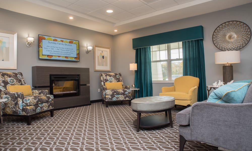 A well decorated lounge at Violet Springs Health Campus in Pickerington, Ohio.
