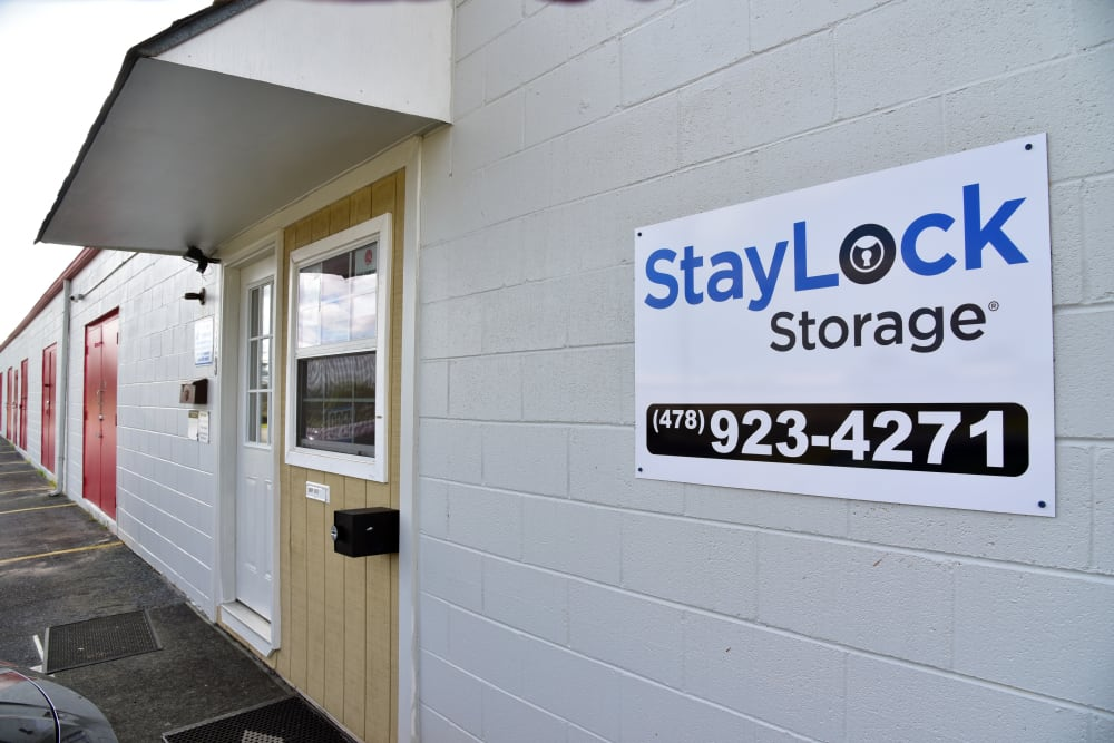 Office door and sign for StayLock Storage in Warner Robins,GA