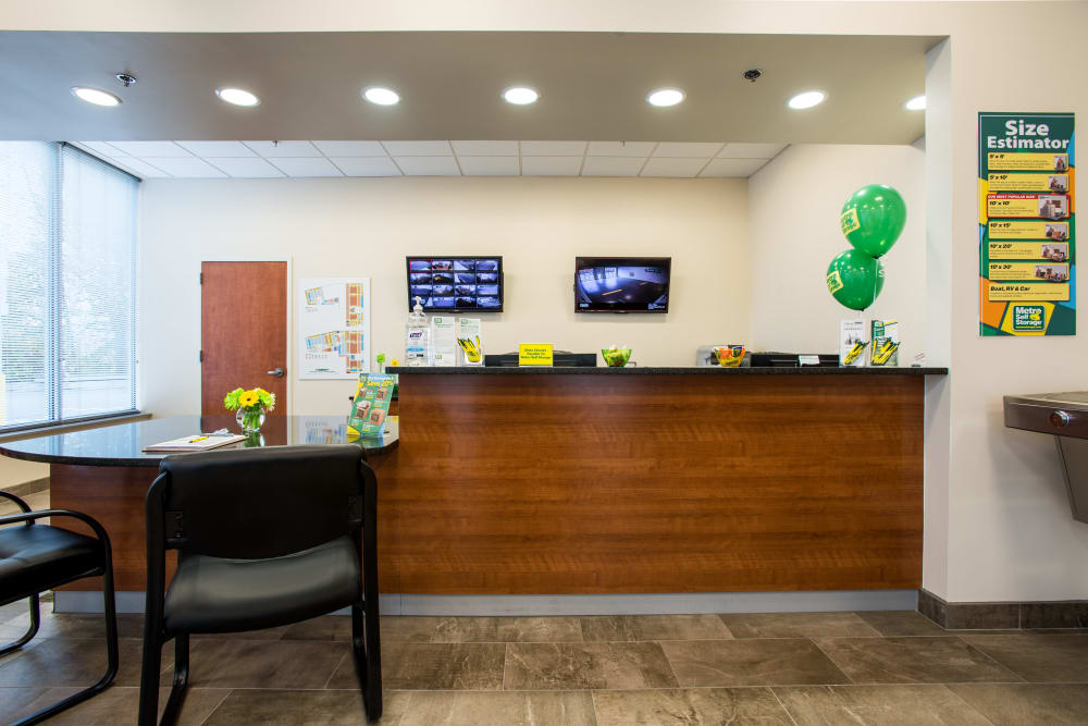 Leasing office reception at Metro Self Storage in Springfield, New Jersey
