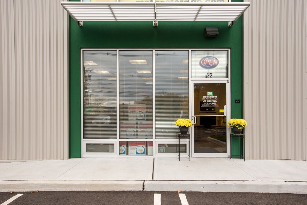 Leasing office entrance door at Metro Self Storage in Springfield, New Jersey