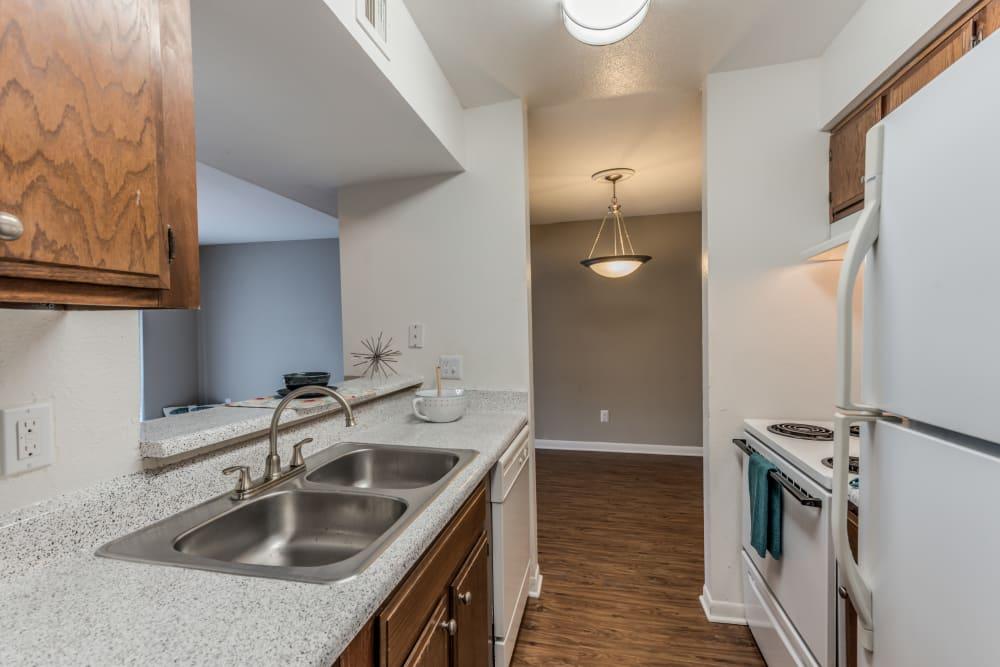 Modern kitchen at apartments in Houston, Texas