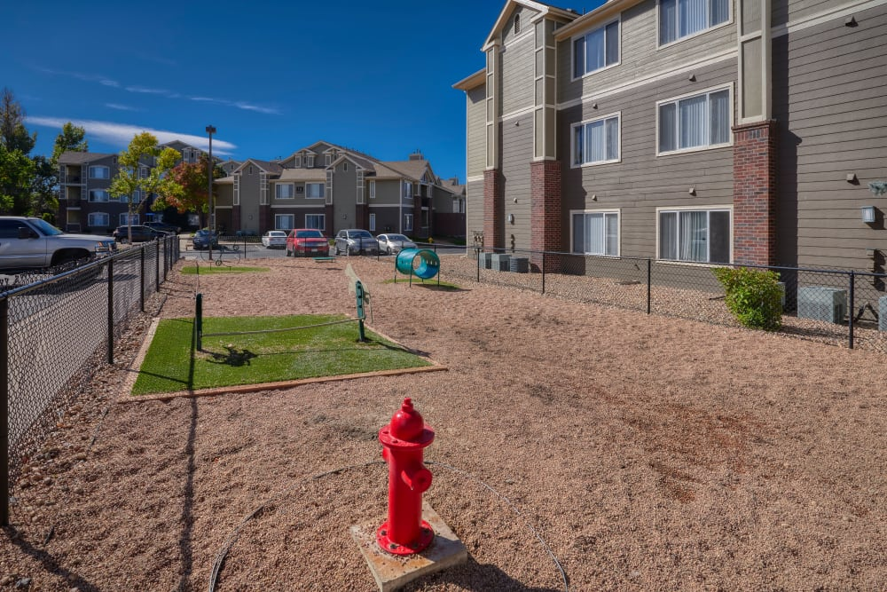 Outdoor park for dogs to run around in at Legend Oaks Apartments in Aurora, Colorado