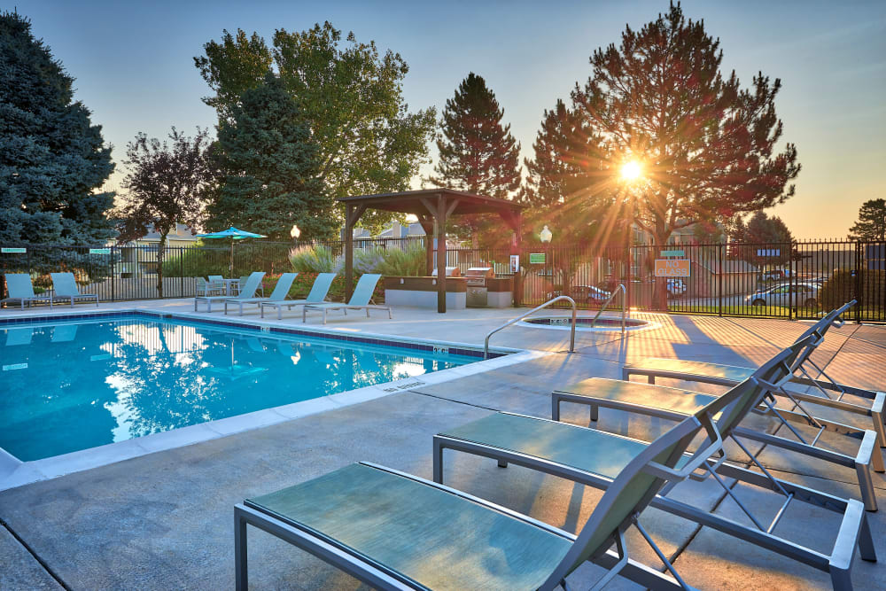 Swimming pool with a sundeck and lounge chairs at Alton Green Apartments in Denver, Colorado