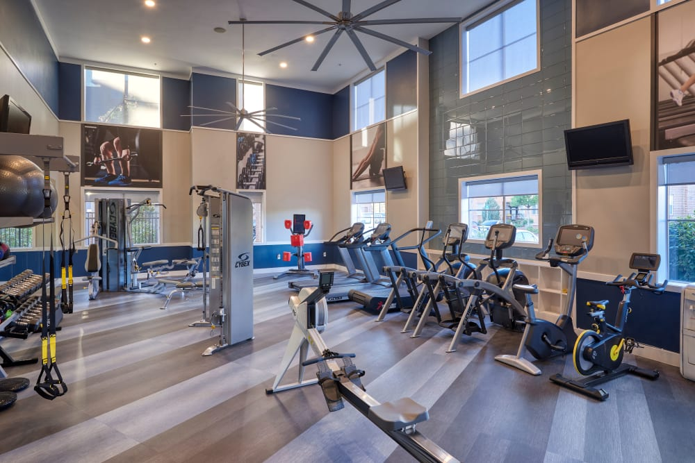 Clean, modern community gym at The Rail at Inverness in Englewood, Colorado