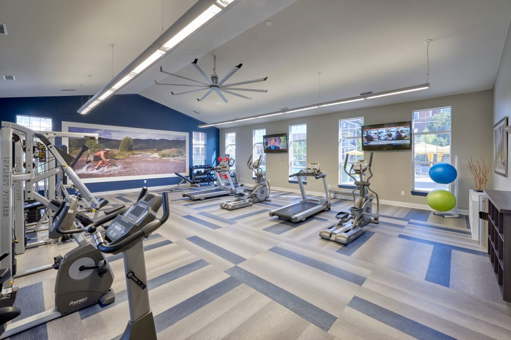 Clean, modern community gym at Bear Valley Park in Denver, Colorado