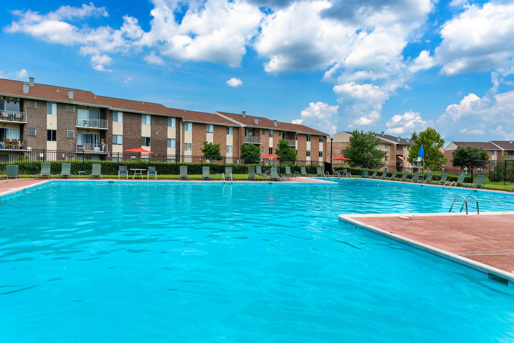 Spacious pool at Commons at White Marsh Apartments in Middle River, Maryland