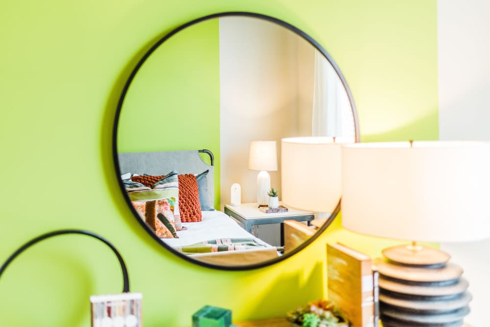 Bedroom mirror at Alta Warp + Weft in Charlotte, North Carolina