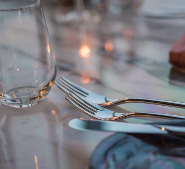 Table setting of a restaurant near The Lodge on El Dorado