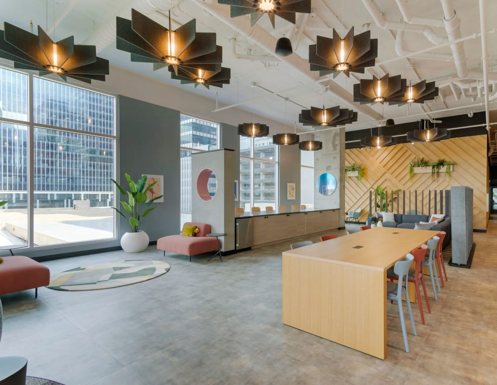 Common area for young professionals working from home at