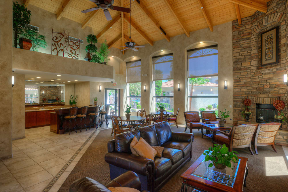 Clubhouse with lounge area at San Prado in Glendale, Arizona