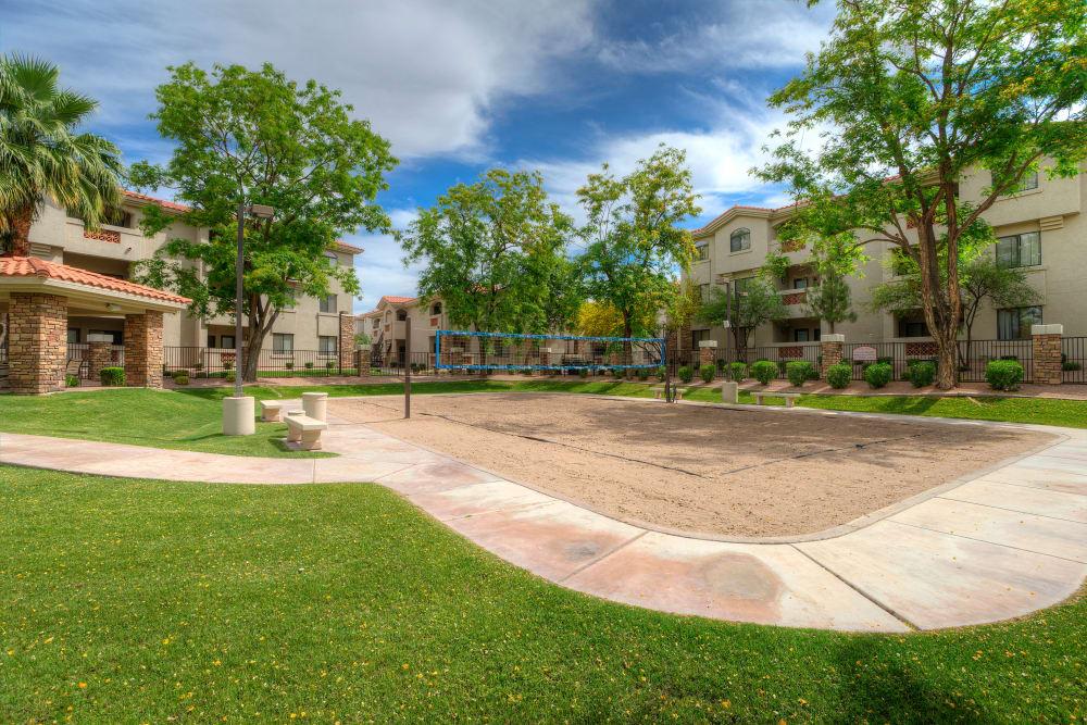 Onsite volleyball court at San Hacienda in Chandler, Arizona