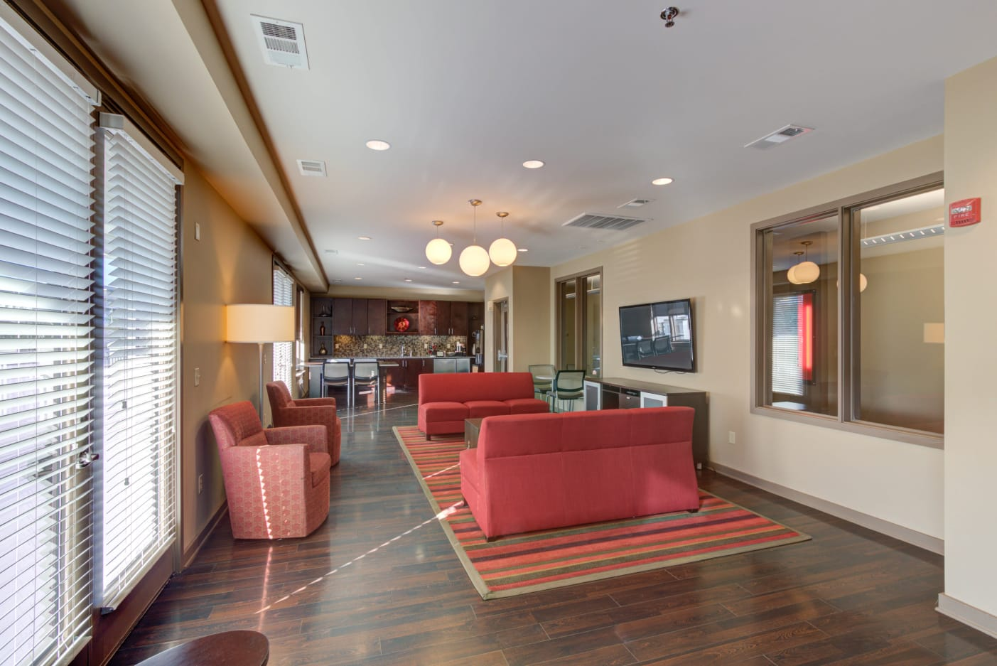 Clubhouse available to residents at 12 South Apartments in Nashville, Tennessee