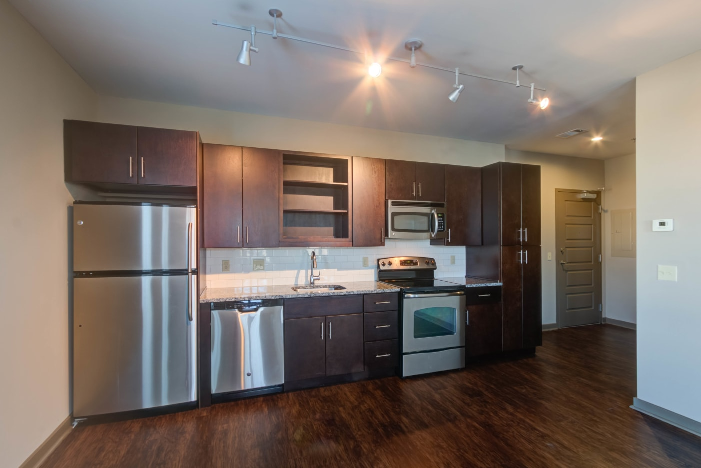 Stainless steel appliances in kitchen at 12 South Apartments in Nashville, Tennessee