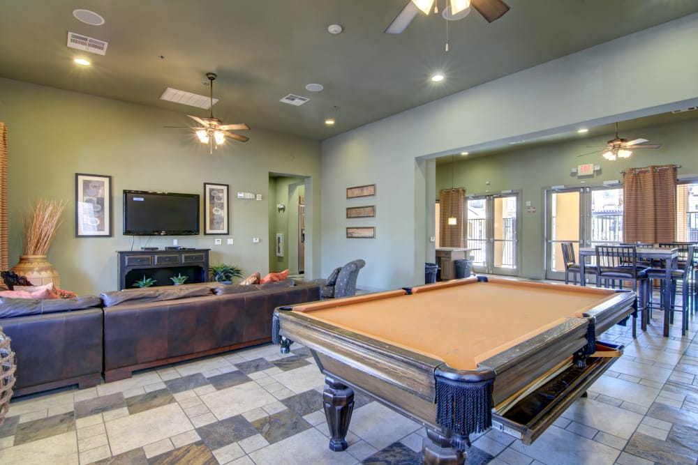 Pool table room at apartments in Surprise, Arizona