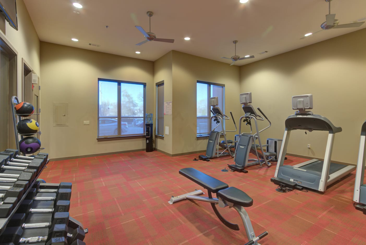 Weights available in the fitness center at 12 South Apartments in Nashville, Tennessee