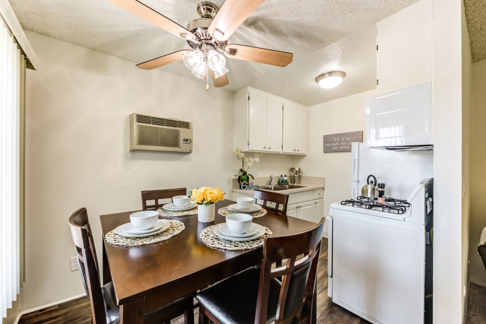 Dining table and kitchen areas at The Crossroads in Van Nuys, CA