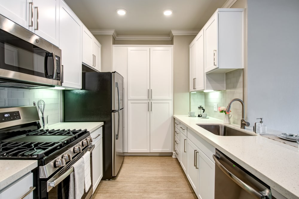 Modern kitchen at Avana North Hollywood Apartments in North Hollywood, CA