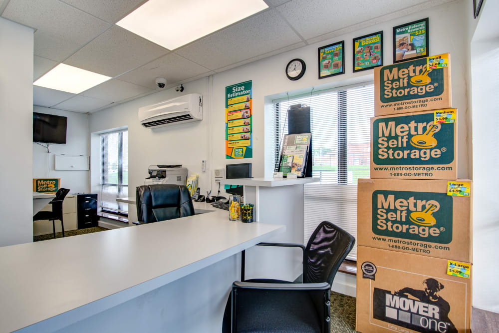 Leasing office offering storage supplies such as boxes and tape at Metro Self Storage in Knoxville