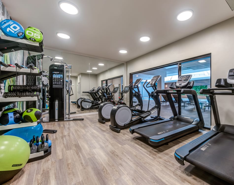 Well-equipped fitness center at Vue Los Feliz in Los Angeles, California