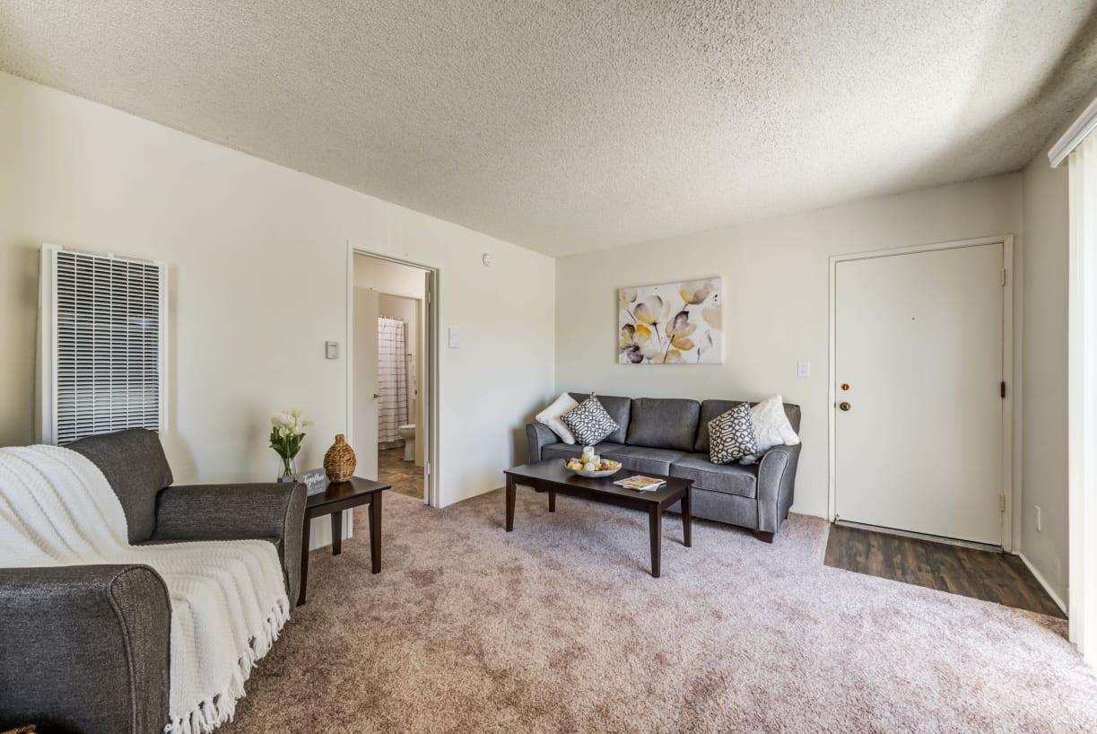 Carpeted living room at The Newporter in Tarzana, California