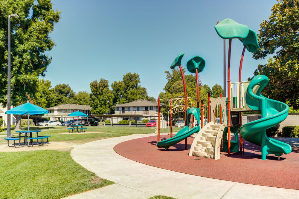 The playground at The Woodlands Apartments in Sacramento, California