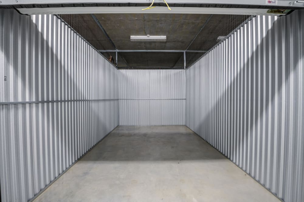 Inside a large storage unit at Farmers Market Self Storage in Los Angeles, CA