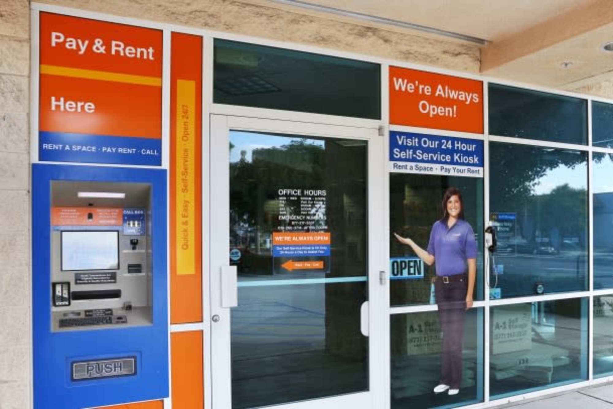 Self-serve kiosk where customers have the option to pay rent at A-1 Self Storage