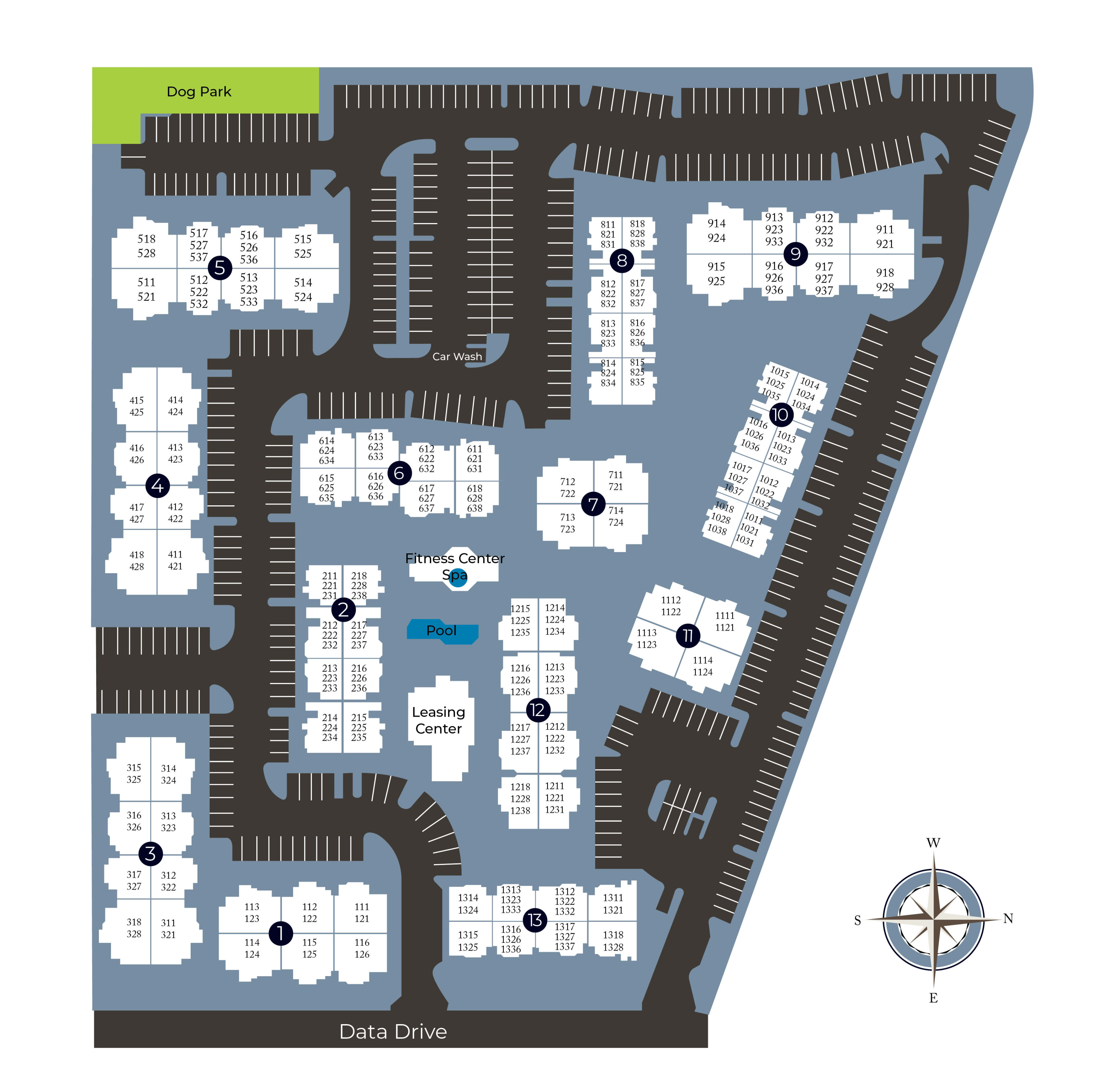 Community site map for The Reserve at Capital Center Apartment Homes in Rancho Cordova, California