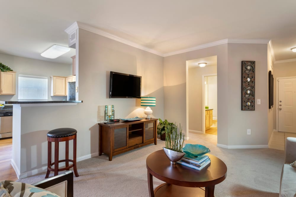 Comfortable living room with plush carpeting in an open layout apartment at Regency at First Colony in Sugar Land, Texas