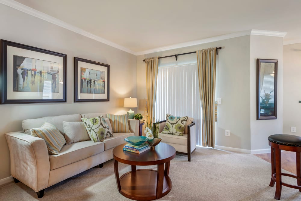 Well decorated living room in a model apartment home at Regency at First Colony in Sugar Land, Texas