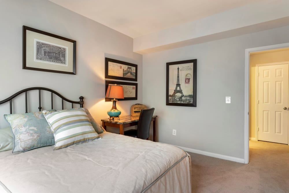 Spacious model bedroom with plush carpeting  at Regency at First Colony in Sugar Land, Texas