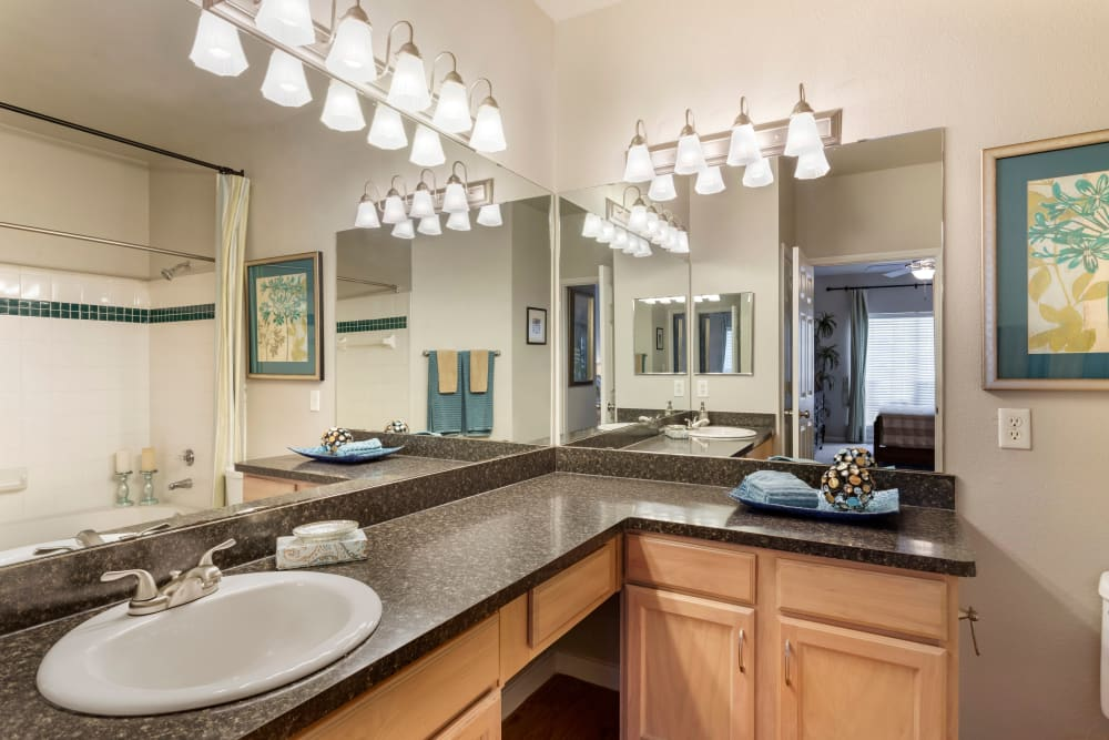 Model bathroom with oversized vanity at Regency at First Colony in Sugar Land, Texas