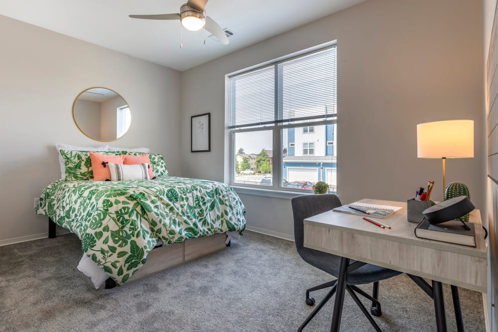 Bright, spacious bedroom at LATITUDE on Hillsborough in Raleigh, North Carolina