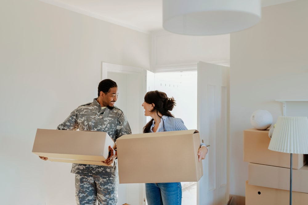 A military couple moves into their new house in San Jose, California