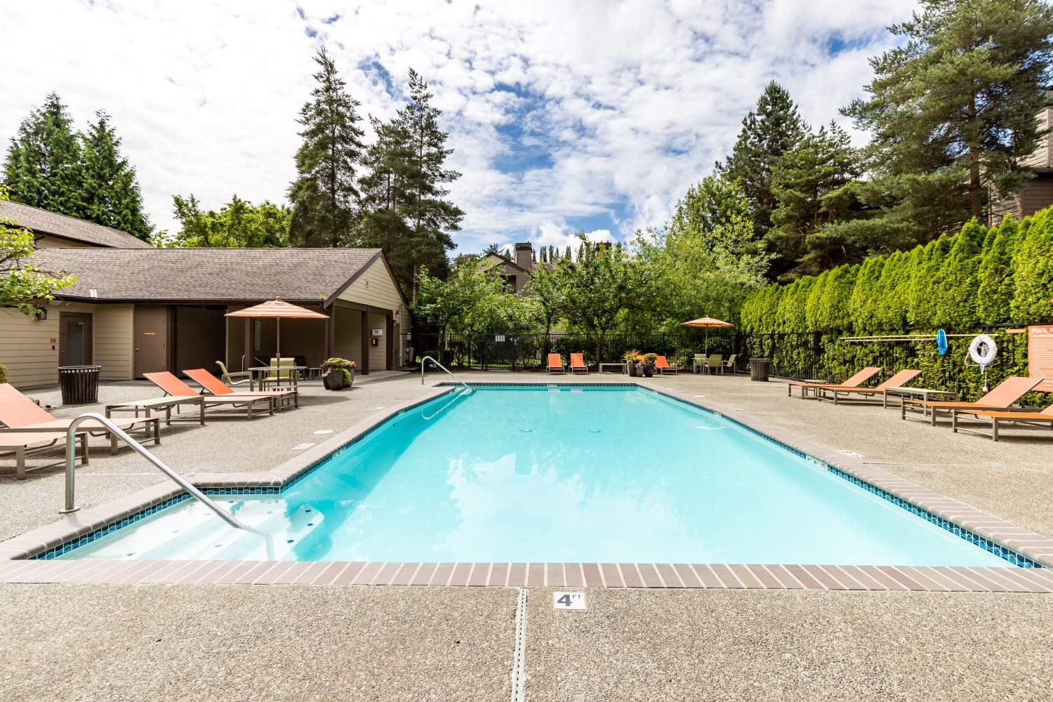 Sparkling swimming pool at Campbell Run Apartments in Woodinville, Washington