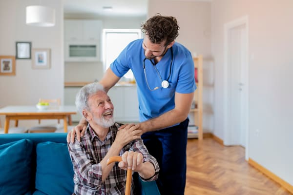 Home health provider helping a resident at Wellness at Home in Albany, Oregon
