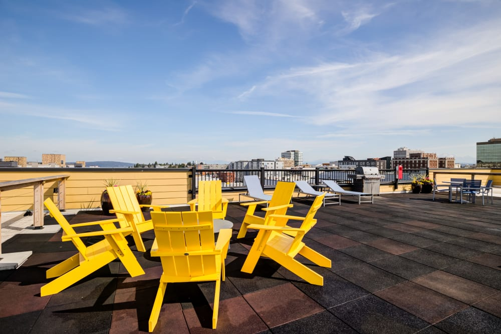Rooftop Adirondack chairs at Lumen Apartments in Everett, Washington