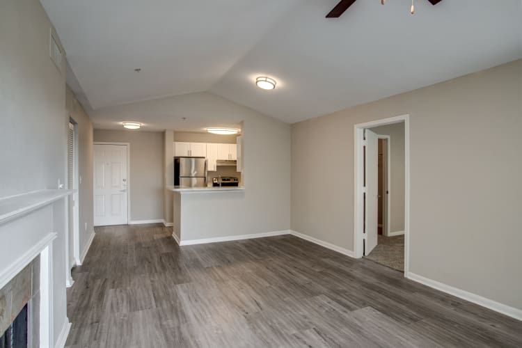 Recently upgraded apartment interior with hardwood floors at Kenwood Club at the Park in Katy, Texas