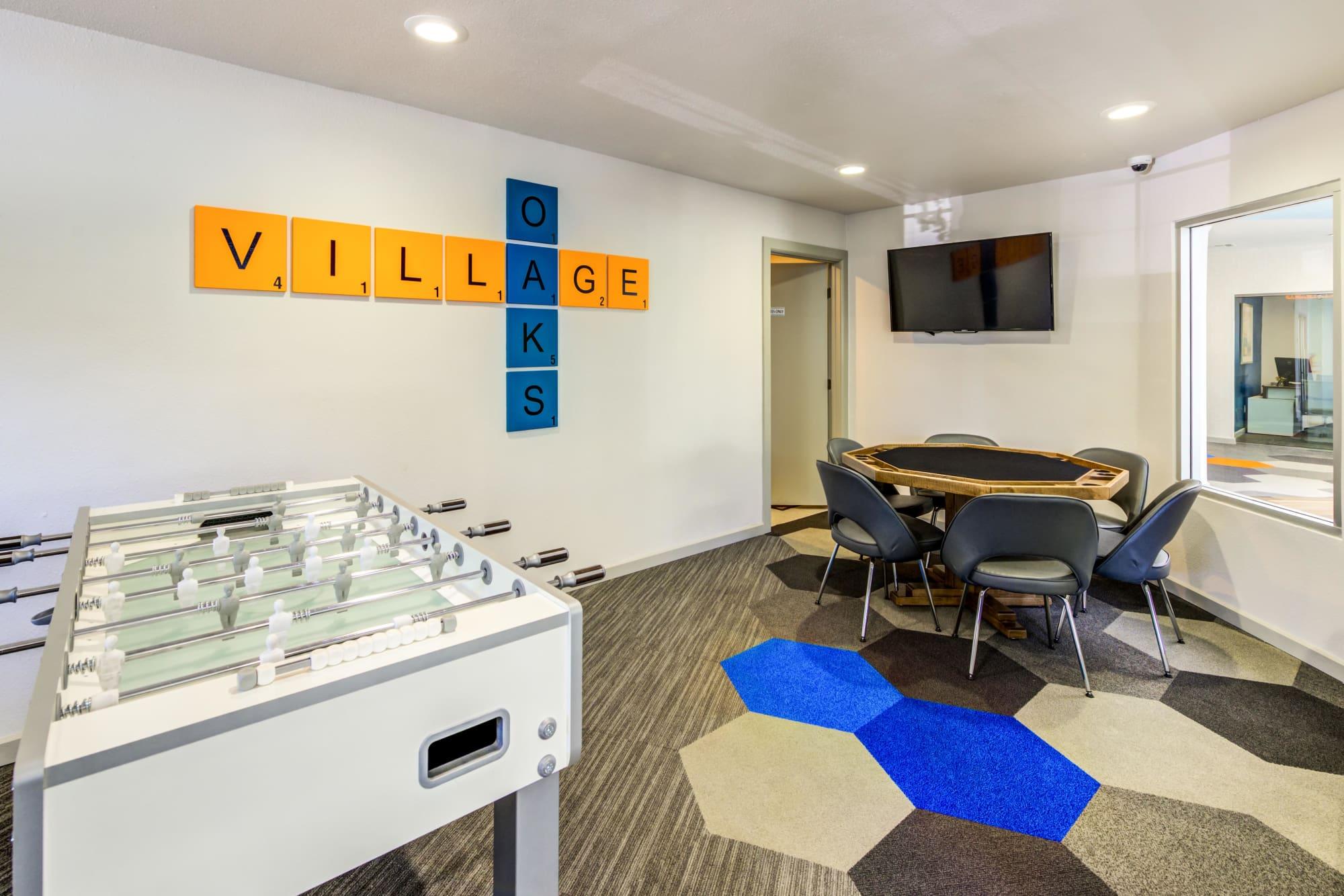 Game room, fooseball, poker table