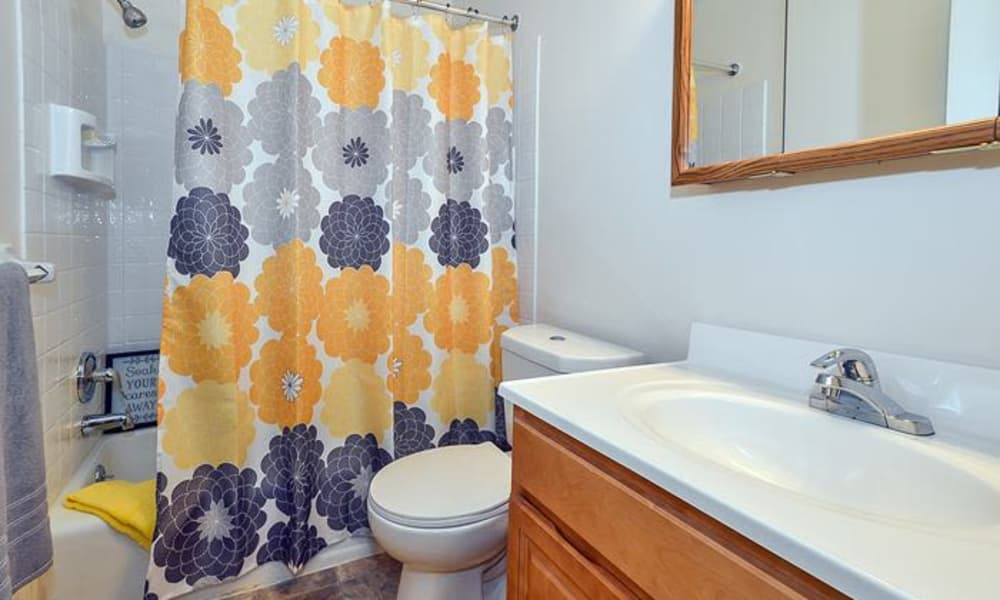 Model bathroom at Forge Gate Apartment Homes in Lansdale, Pennsylvania