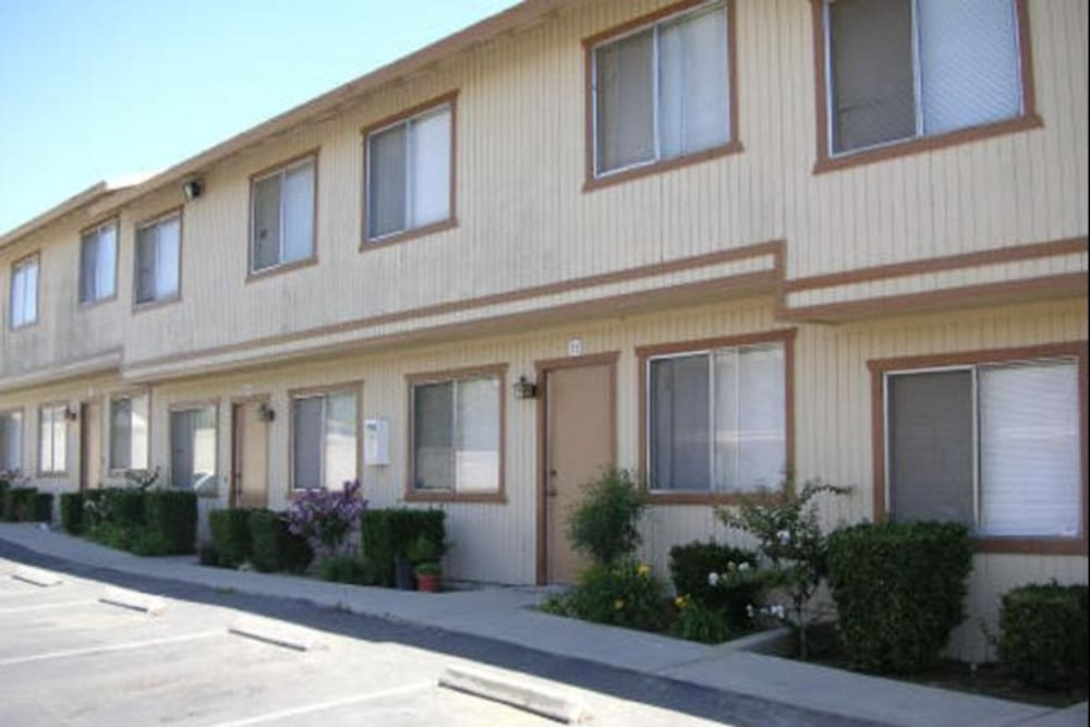Exterior of Olympus Court Apartments in Bakersfield, California