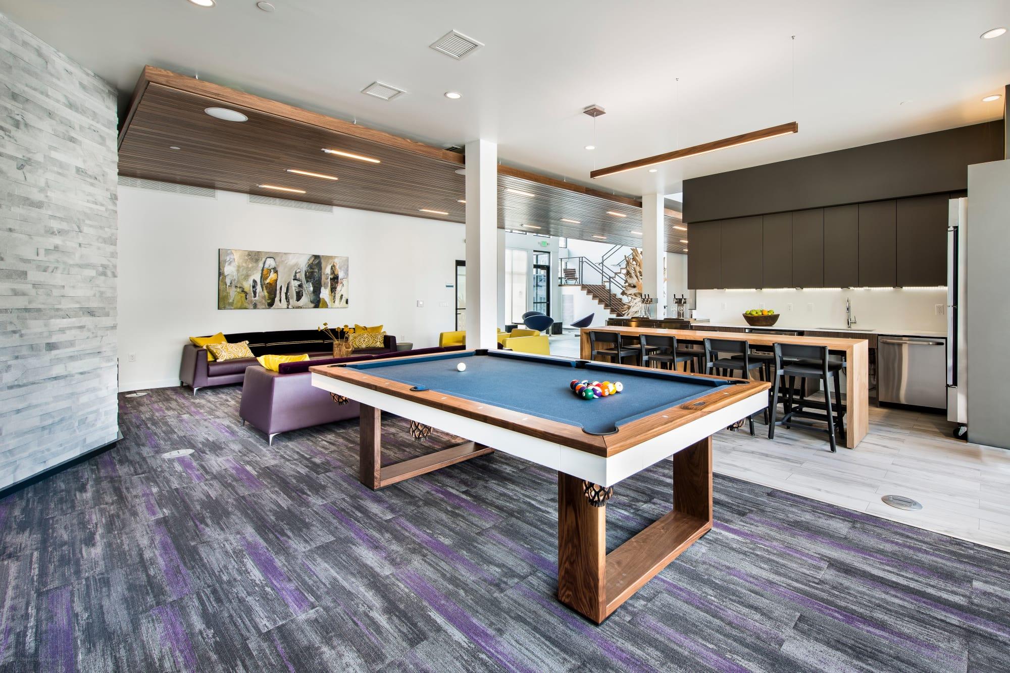 Billiards room at Elevate in Englewood, Colorado