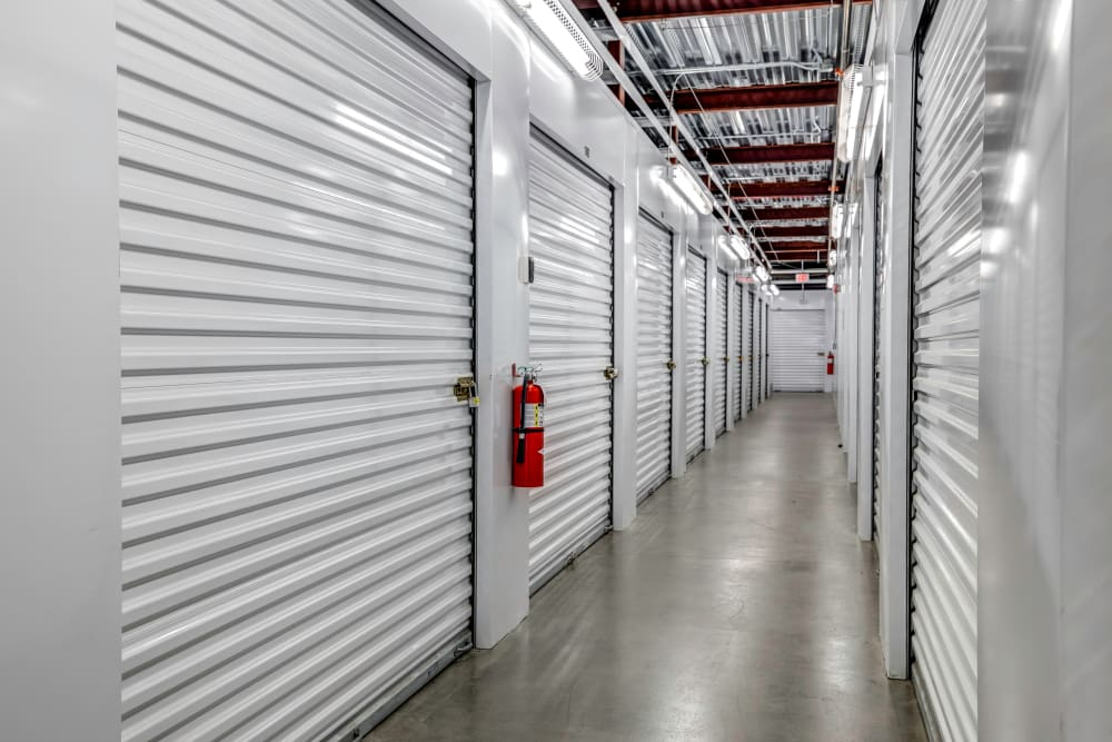 Indoor hallway access to storage units at Metro Self Storage in Franklin