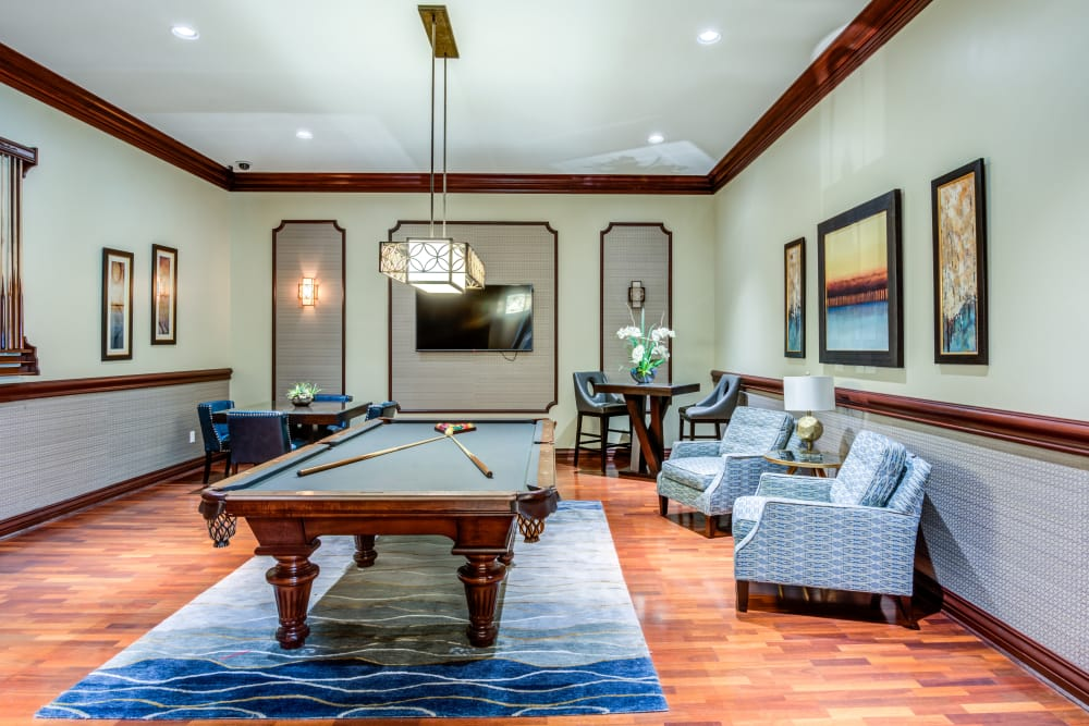 Pool table room at apartments in Palm Beach Gardens, Florida
